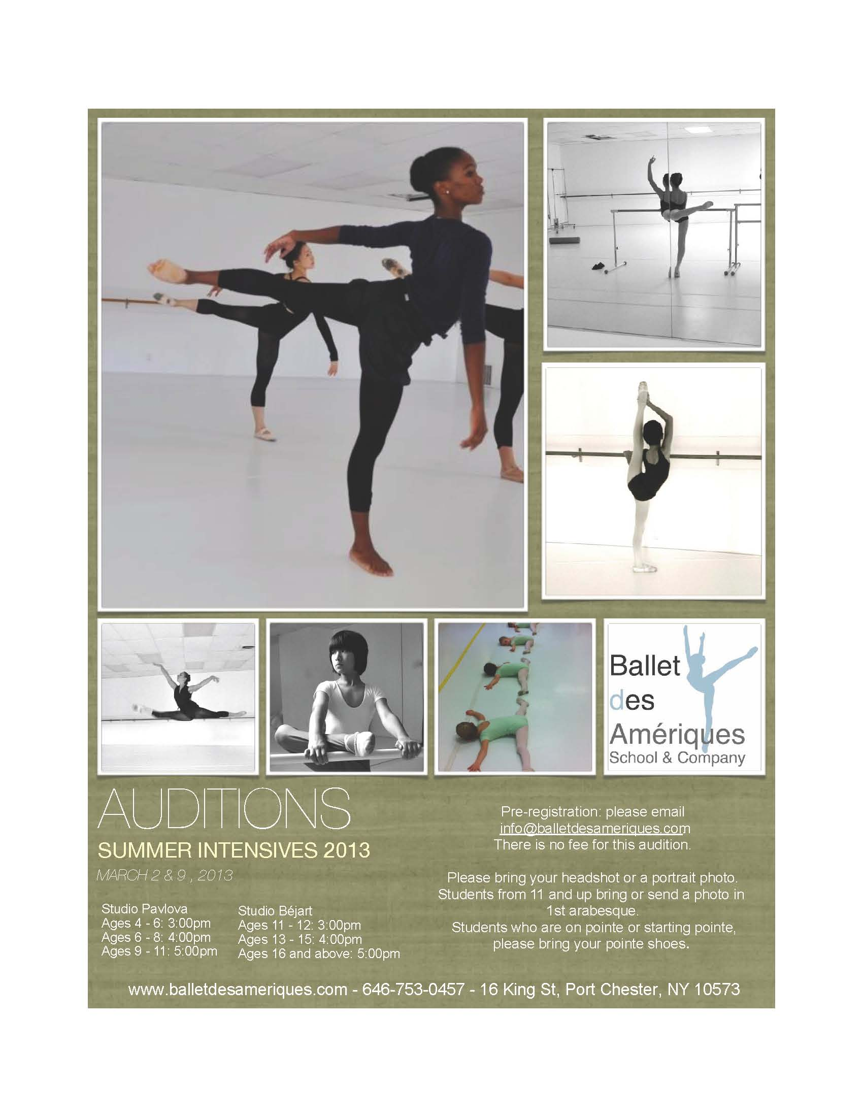 Ballet des Amériques - Summer Intensives 2013 Auditions